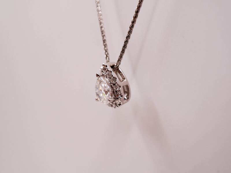 Diamond Pendants & Necklaces - Pear Shaped Diamond Pendant with Halo  - image #2