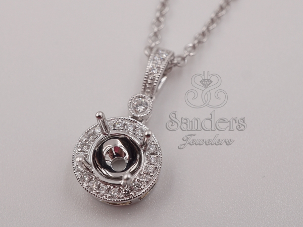 Pendants & Necklaces - Two-Tone Round Halo Pendant Mount