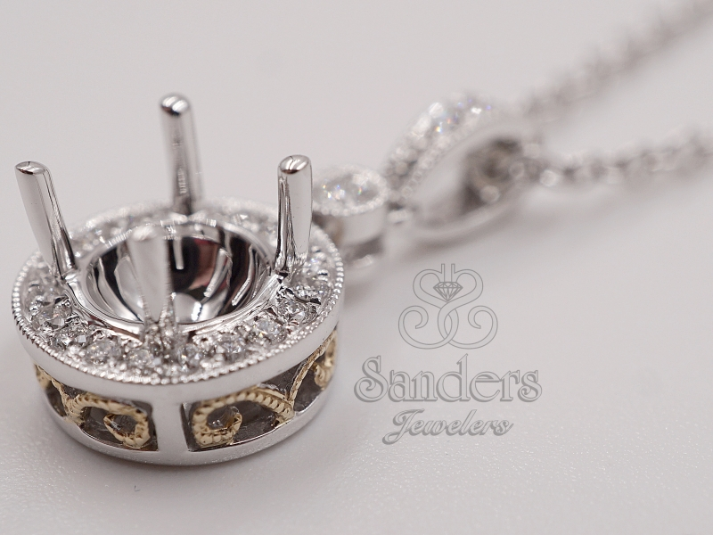 Pendants & Necklaces - Two-Tone Round Halo Pendant Mount - image 2