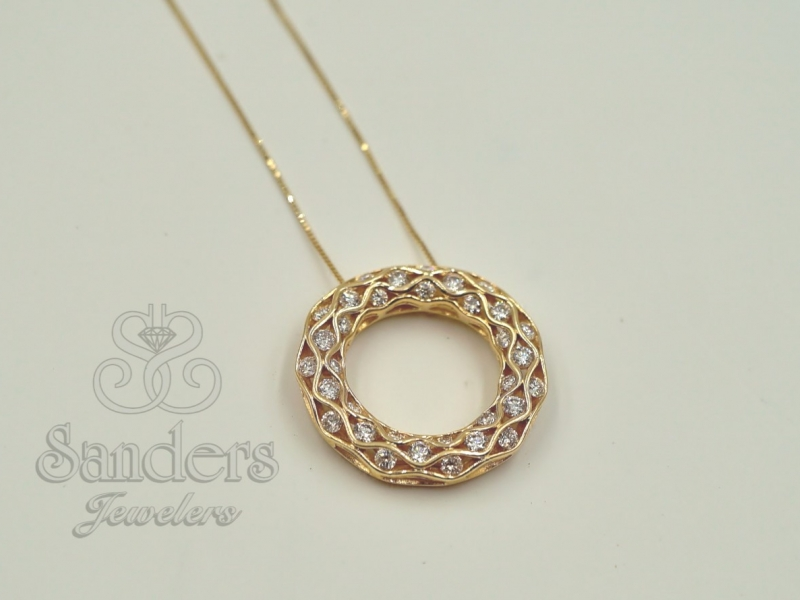 Pendants & Necklaces - Circular Diamond Pendant - image #2