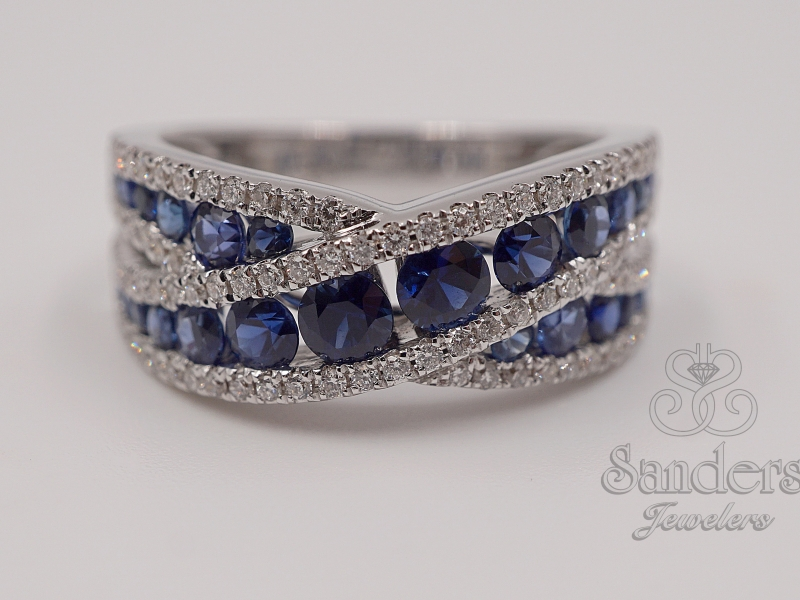 Rings - Crossing Sapphire & Diamond Ring
