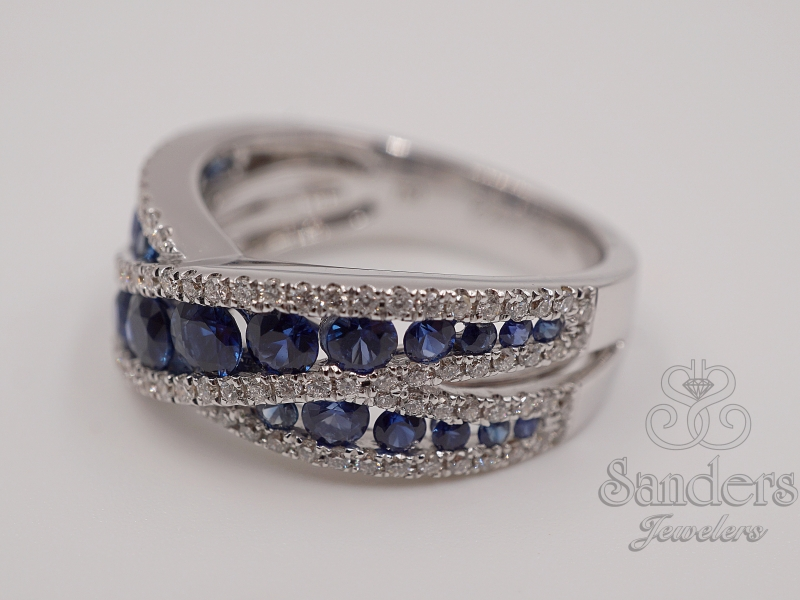 Rings - Crossing Sapphire & Diamond Ring - image #2