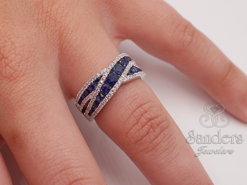 Rings - Crossing Sapphire & Diamond Ring - image #3