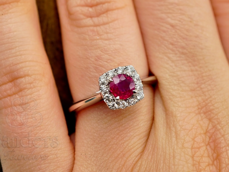 Rings - Ruby with Diamond Halo Ring - image #2