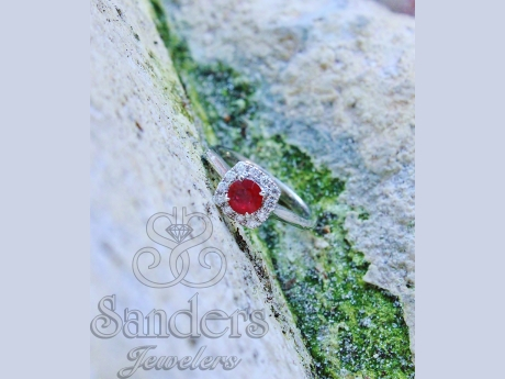 Rings - Ruby with Diamond Halo Ring