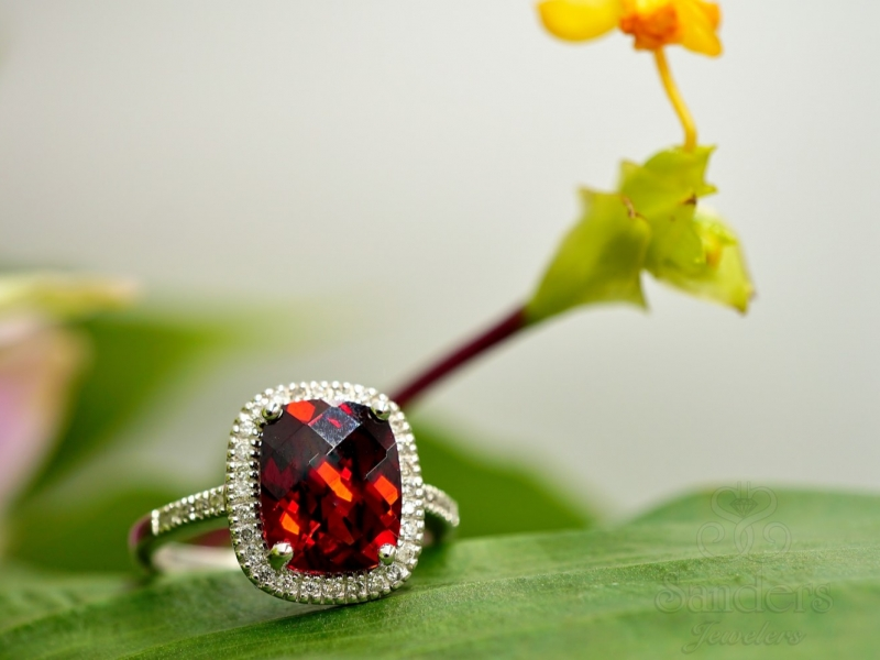 Colored Stone Rings - Cushion Garnet with Diamond Halo Ring
