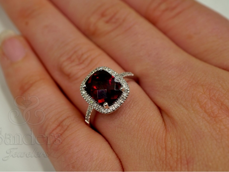 Colored Stone Rings - Cushion Garnet with Diamond Halo Ring - image 2
