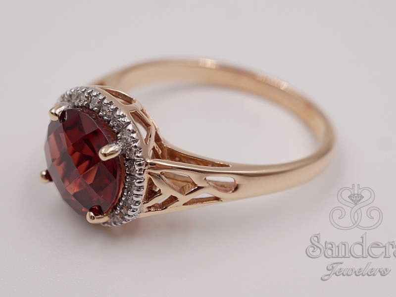 Rings - Garnet and Diamond Ring - image #2