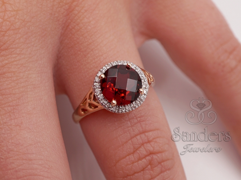 Rings - Garnet and Diamond Ring - image #3