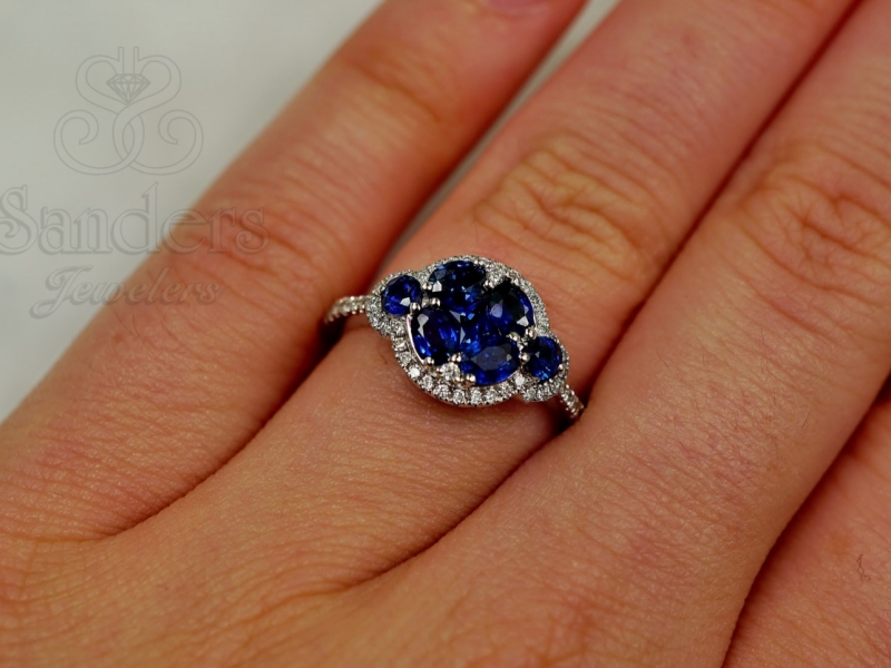 Rings - Sapphire & Diamond Cluster Style Ring - image #2