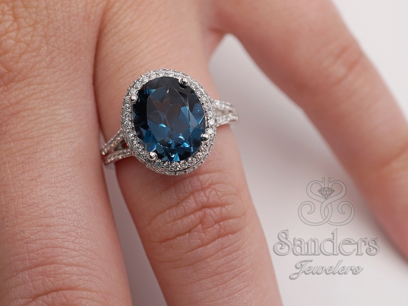 Diamond Jewelry - Oval London Blue Topaz Halo Ring - image #4