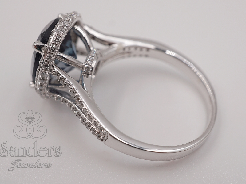 Diamond Jewelry - Oval London Blue Topaz Halo Ring - image 3