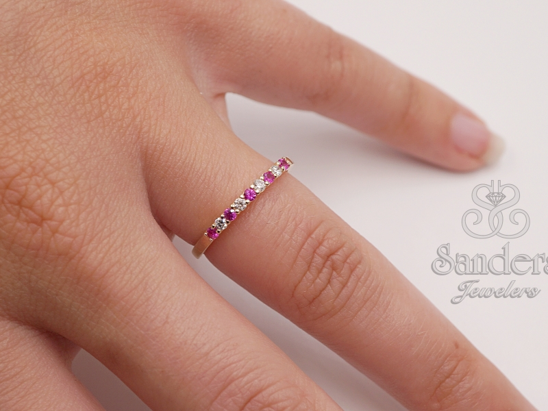 Rings - Ruby and Diamond Band - image #2