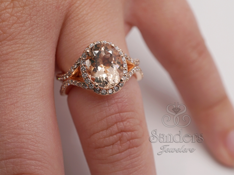 Rings - Oval Morganite Fashion Ring - image #3