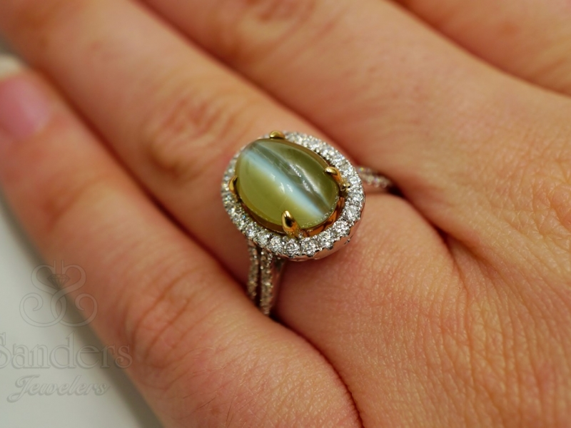 Fashion Rings - Cat's Eye Chrysoberyl and Diamond Ring - image #3