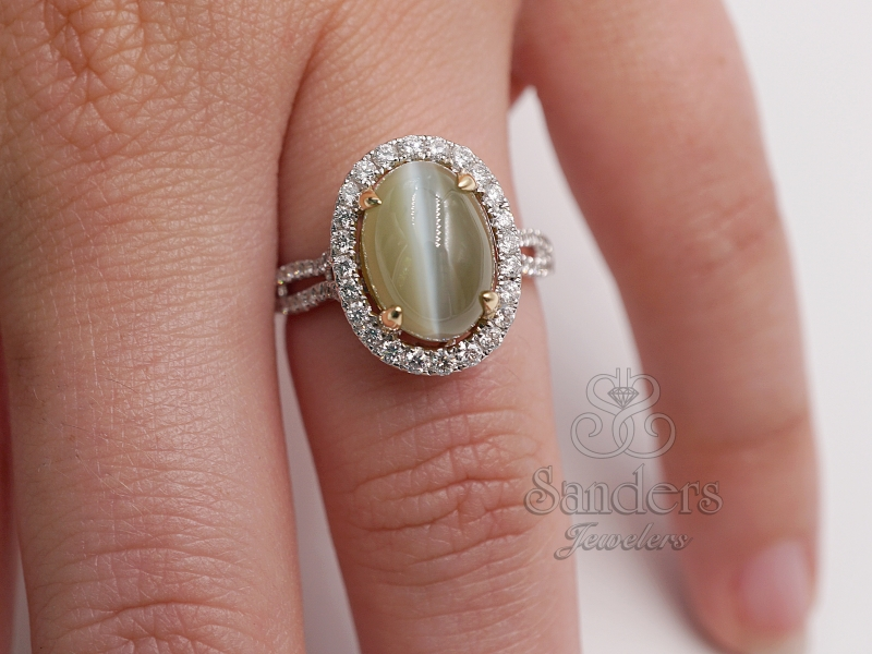 Rings - Cat's Eye Chrysoberyl and Diamond Ring - image #3