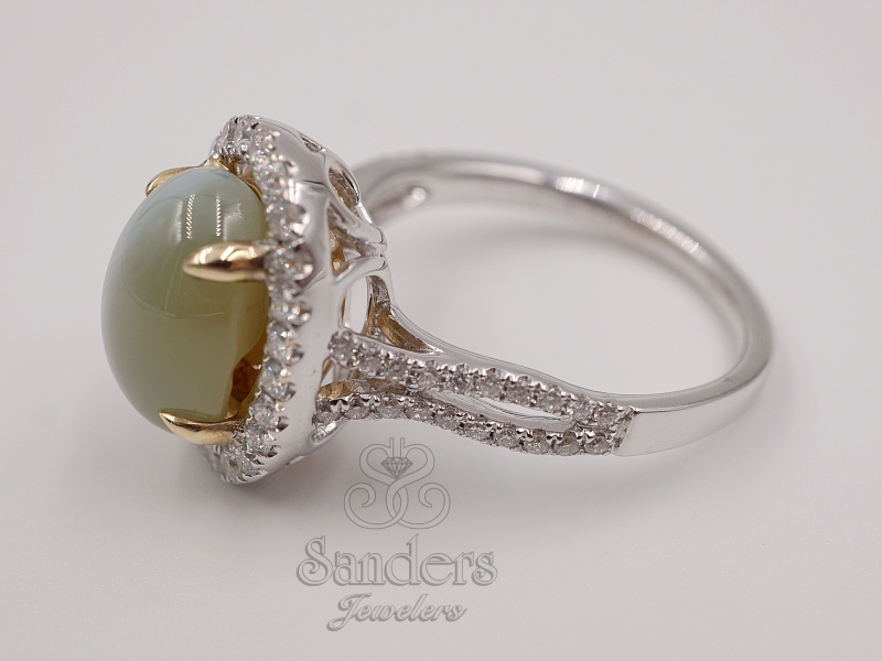 Rings - Cat's Eye Chrysoberyl and Diamond Ring - image #2