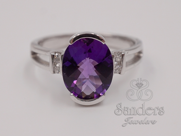Rings - Amethyst and Diamond Ring