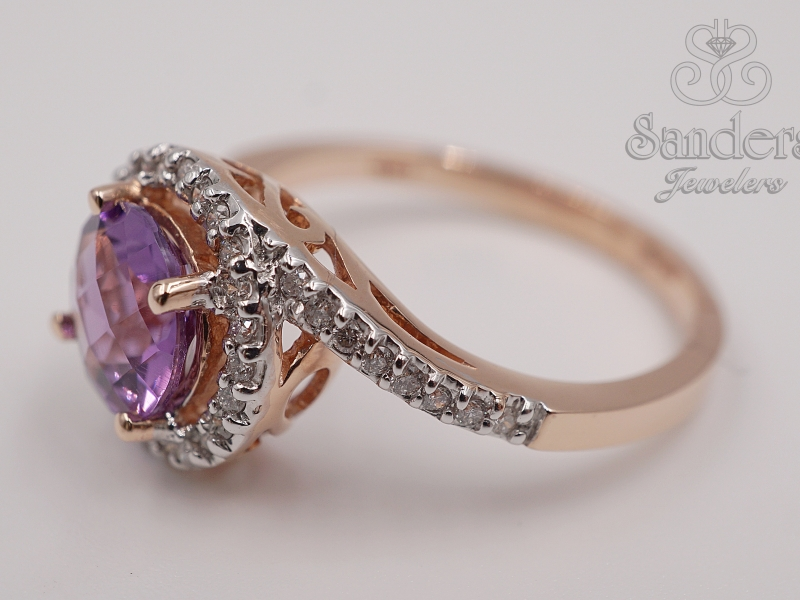 Rings - Amethyst and Diamond Ring - image #2