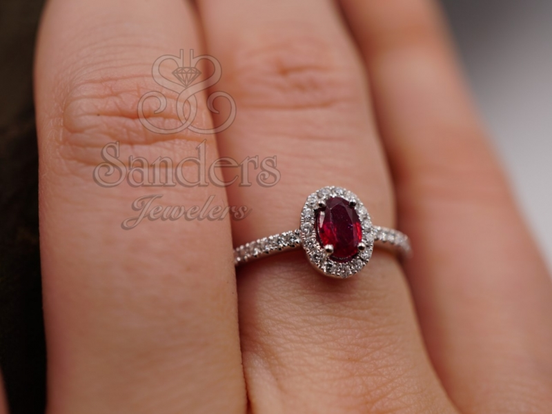 Rings - Ruby and Diamond Halo Ring - image #4