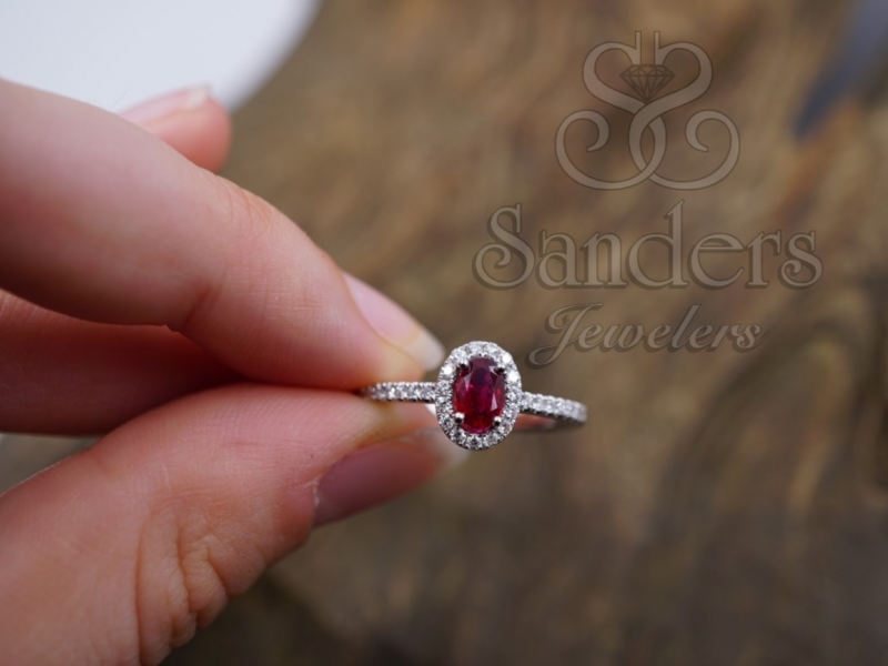 Rings - Ruby and Diamond Halo Ring - image #3