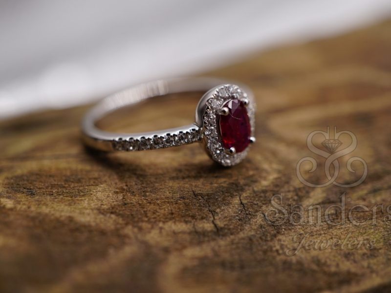Rings - Ruby and Diamond Halo Ring - image #2