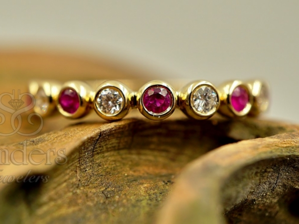 Rings - Ruby and Diamond Stacker Band