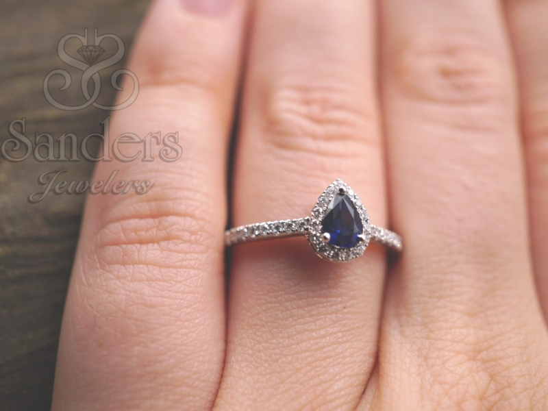 Rings - Sapphire and Diamond Halo Ring - image #2