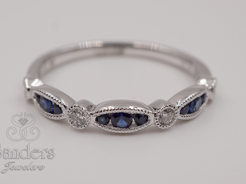 Rings - Sapphire and Diamond Stacker Band