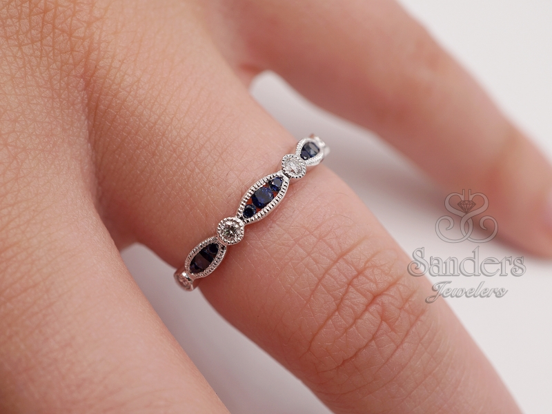 Rings - Sapphire and Diamond Stacker Band - image #2