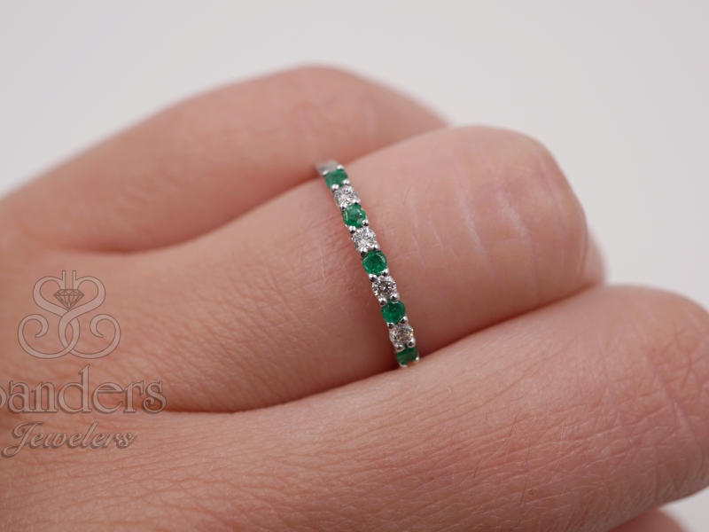 Rings - Emerald and Diamond Band - image 3