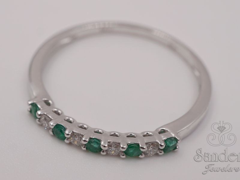 Rings - Emerald and Diamond Band - image 2