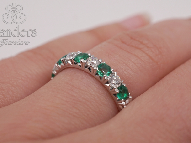 Rings - Emerald and Diamond Band - image #4