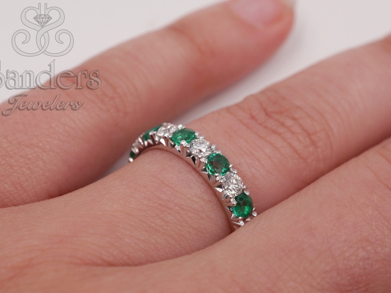 Rings - Emerald and Diamond Band - image #3
