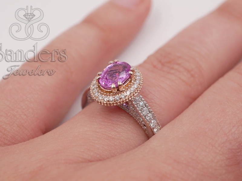 Rings - Pink Sapphire and Diamond Halo Ring - image #3