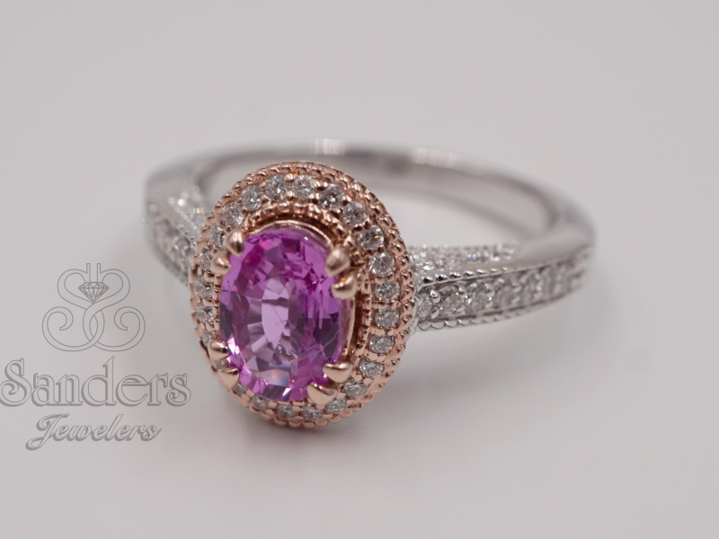 Rings - Pink Sapphire and Diamond Halo Ring - image #2