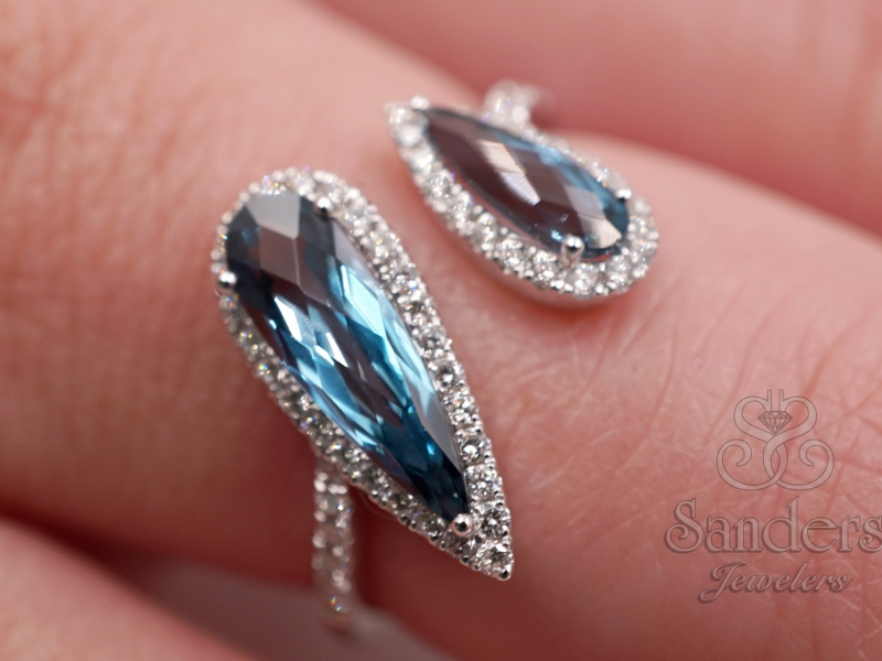 Rings - London Blue Topaz Bypass Fashion Ring - image #3