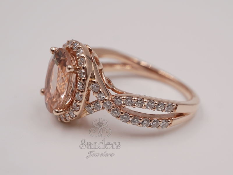 Rings - Morganite and Diamond Ring - image #2