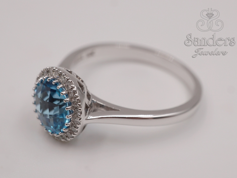 Rings - Blue Topaz Diamond Ring - image 2