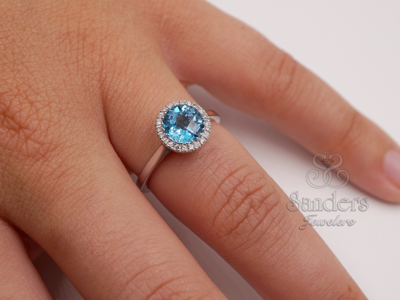 Rings - Blue Topaz Diamond Ring - image #3
