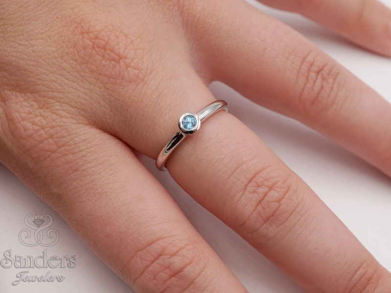 Rings - Blue Topaz Stacker Ring - image #2