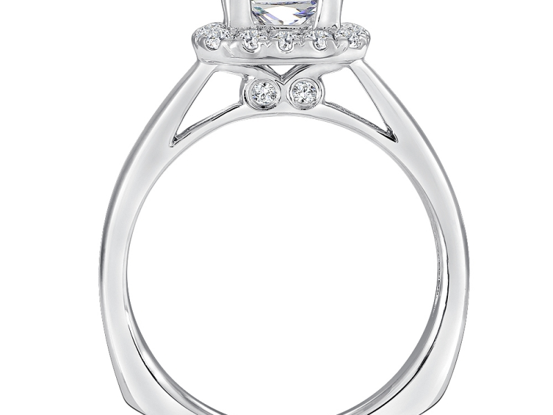 Bridal Jewelry - Princess Cut with Cushion Halo Engagement Ring - image 3