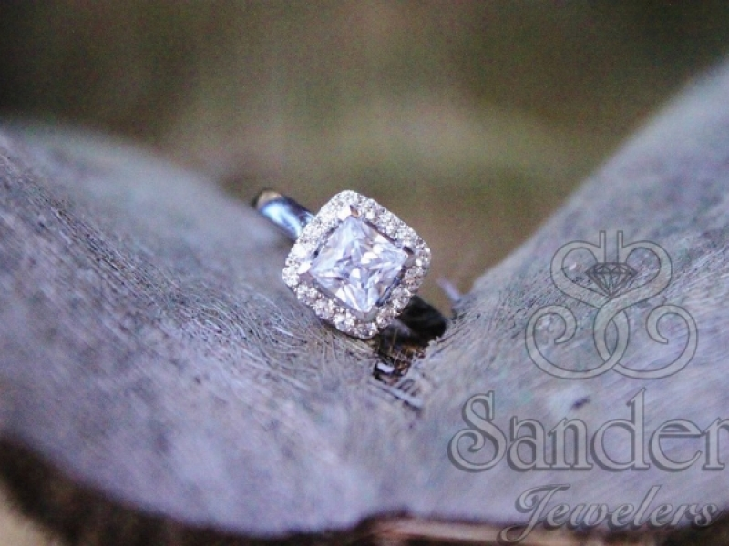 Bridal Jewelry - Princess Cut with Cushion Halo Engagement Ring - image #4