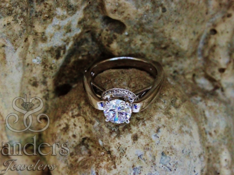 Engagement Rings - Solitaire with Gallery Halo - image #2