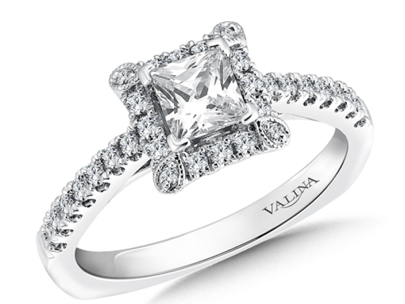 Bridal Jewelry - Square Halo Engagement Ring - image #3