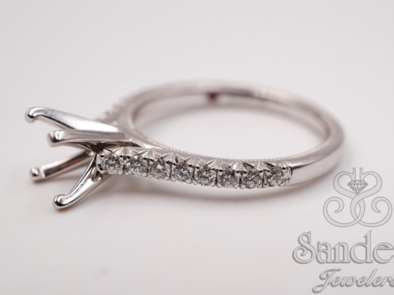 Bridal Jewelry - Petite Diamond Engagement Ring  - image #4