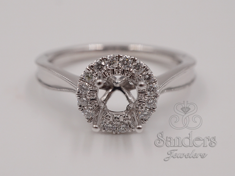 Bridal Jewelry - Round Halo Diamond Engagement Ring