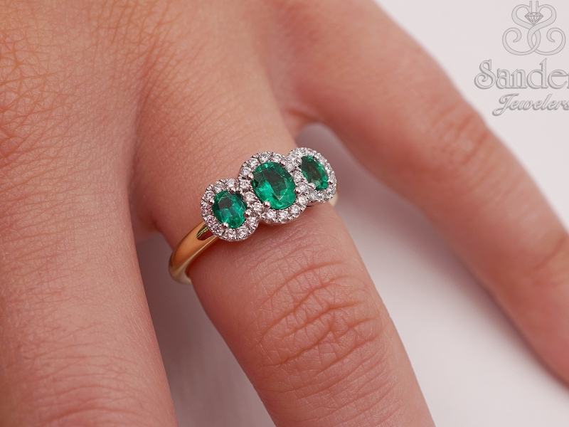 Rings - Three Stone Emerald Ring - image #3