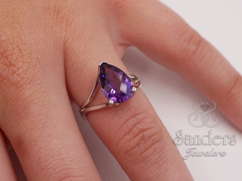 Rings - Pear Shaped Amethyst Ring - image #2