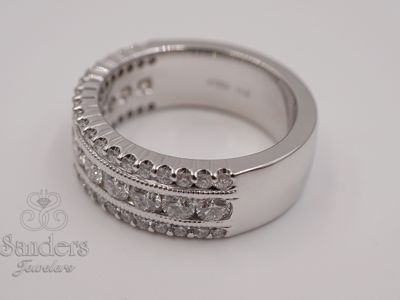Bridal Jewelry - Wide Diamond Band - image #2